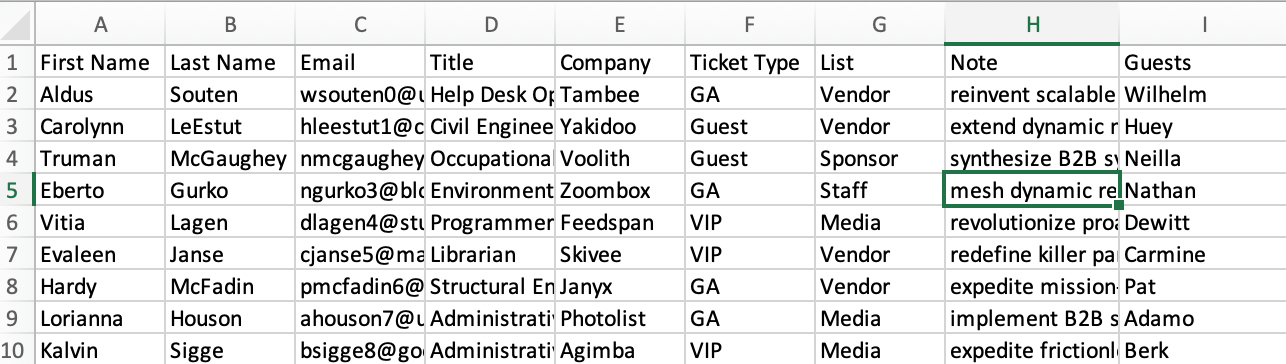 excel spreadsheet guests check in